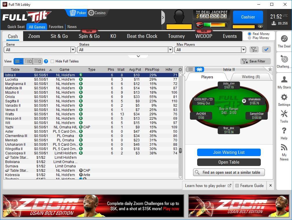 Full tilt poker value